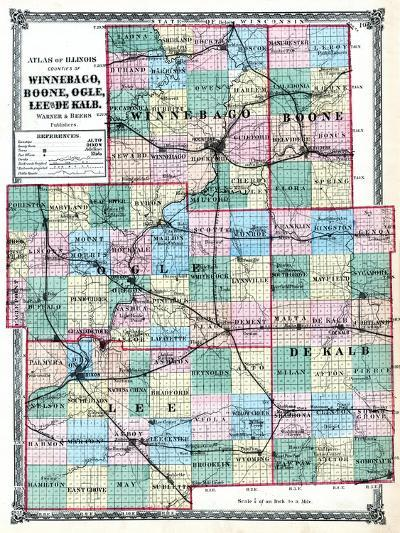 1875, Winnebago, Boone, Ogle, Lee and De Kalb Counties Map, Illinois, United States--Giclee Print