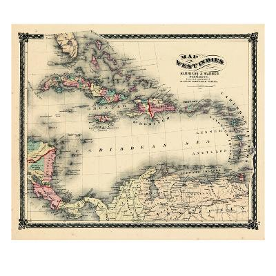 1876, County Map of Florida, West Indies, Caribbean, Mexico, Cuba, South America, United--Giclee Print