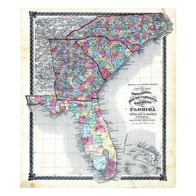 picture relating to Printable Map of North Carolina named 1876, County Map of North Carolina, South Carolina, Ga and Florida, Missouri, United Claims Giclee Print through