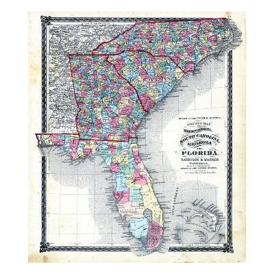 Map Of Florida Georgia South Carolina.1876 County Map Of North Carolina South Carolina Georgia And
