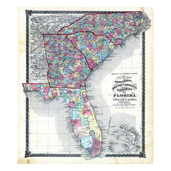 Map Of Georgia South Carolina.1876 County Map Of North Carolina South Carolina Georgia And Florida Missouri United States Giclee Print By Art Com