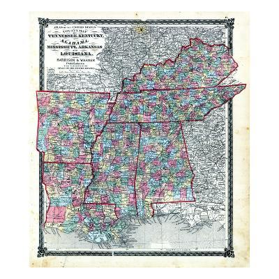 Arkansas And Louisiana Map.1876 County Map Tennessee Kentucky Alabana Mississippi Arkansas