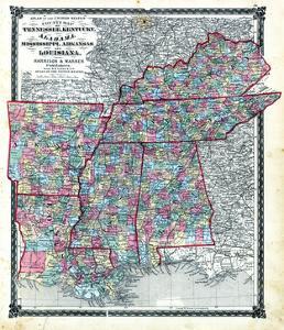 1876, County Map Tennessee, Kentucky, Alabana, Mississippi, Arkansas and Louisiana, Missouri, Unite