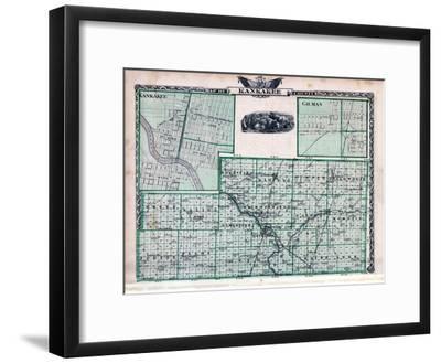 1876, Kankakee County Map, Gilman, Kankakee, Illinois, United States