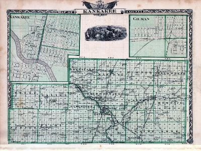 1876, Kankakee County Map, Gilman, Kankakee, Illinois, United States--Giclee Print