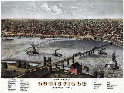 1876, Louisville Bird's Eye View, Kentucky, United States--Giclee Print