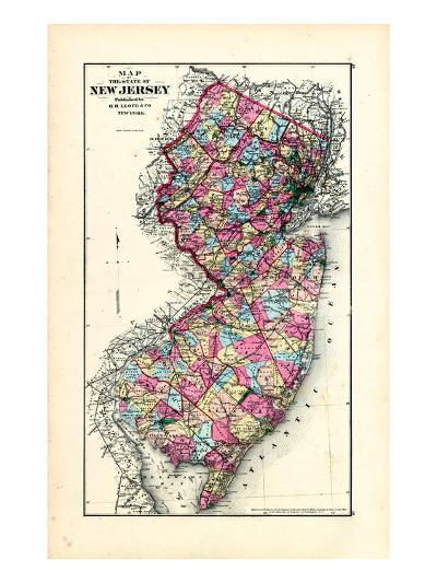 1876, New Jersey State Map, New Jersey, United States--Giclee Print