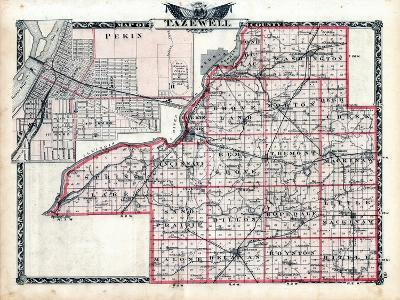 1876, Tazewell County Map, Illinois, United States--Giclee Print