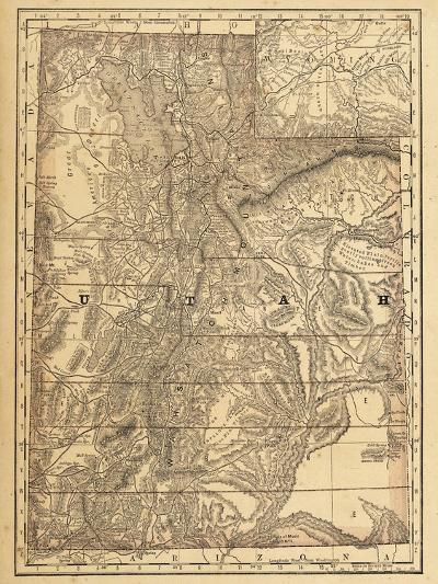 1876, Utah State Map, Utah, United States--Giclee Print