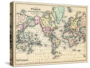 World maps posters and prints at art 1876 world map of the world 1876 stretched canvas print publicscrutiny Gallery