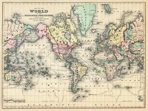World maps artwork for sale posters and prints at art 1876 world map of the world 1876 giclee print gumiabroncs Images