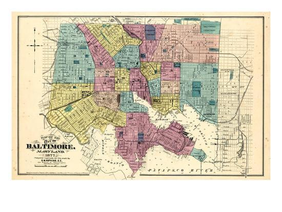 1877, Baltimore City Map 1877, Maryland, United States Giclee Print ...