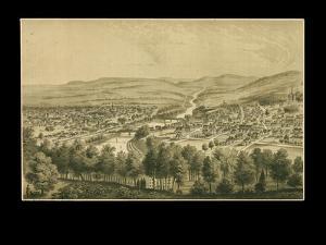 1877, Bethlehem Bird's Eye View, Pennsylvania, United States
