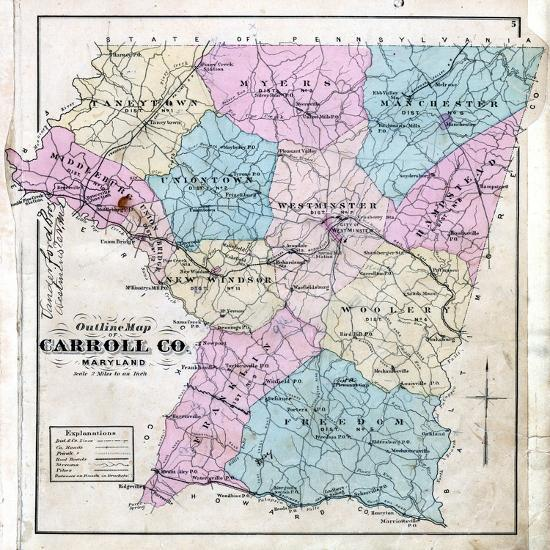 1877, Carroll County Map, Maryland, United States Giclee Print by ...