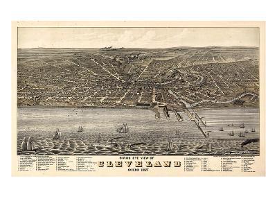 1877, Cleveland Bird's Eye View, Ohio, United States--Giclee Print
