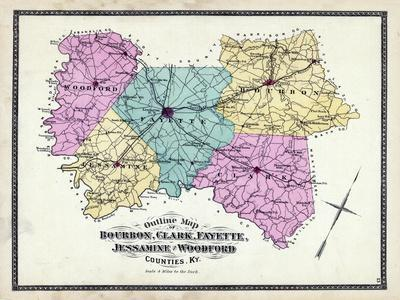 picture about Printable Map of Kentucky Counties known as 1877, Kentucky Counties Determine Map, Kentucky, United Says Giclee Print by way of