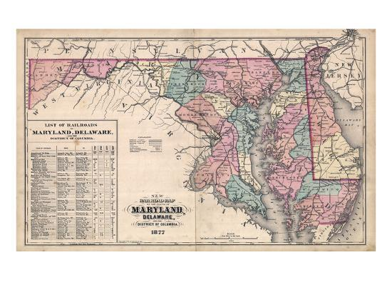 1877, Maryland and Delaware Railroad Map 1877, Maryland, United ...