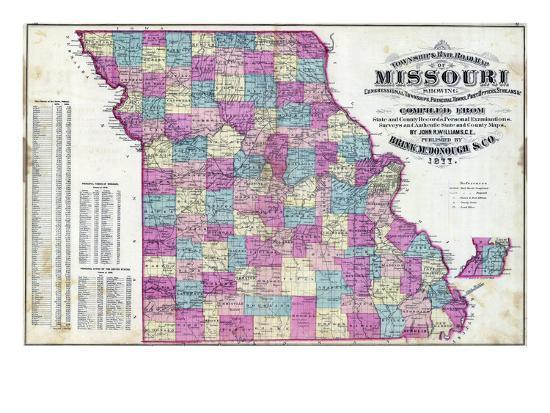 1877, Missouri State Map, Missouri, United States Giclee Print by | Art.com
