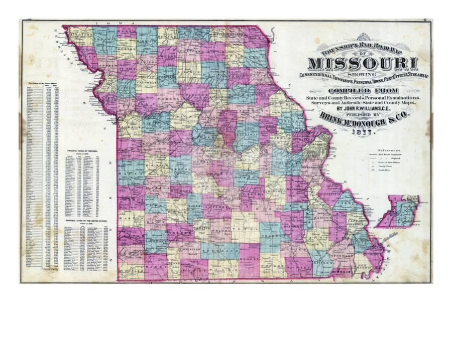1877 Missouri State Map Missouri United States Giclee Print By