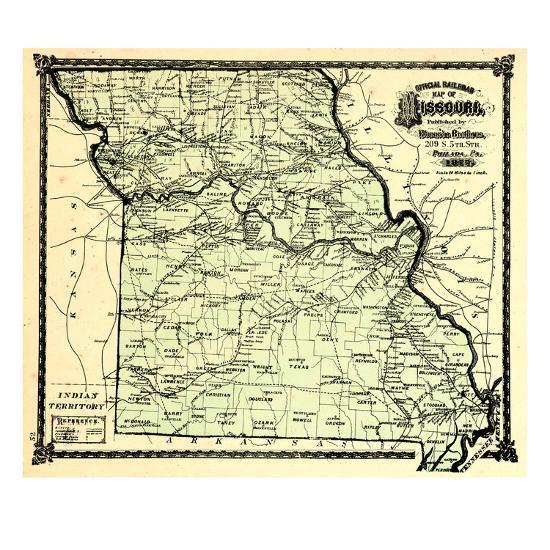 1877, State Map, Missouri, United States Giclee Print by | Art.com on map of the united states in missouri, zip code map in missouri, animals in missouri, usa map st missouri, usa climate in missouri, weather in missouri, usa map in miami, home in missouri, statue of liberty in missouri,