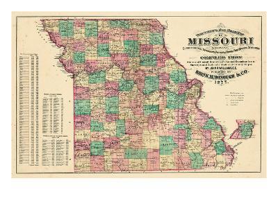 1877, State Map, Missouri, United States--Giclee Print