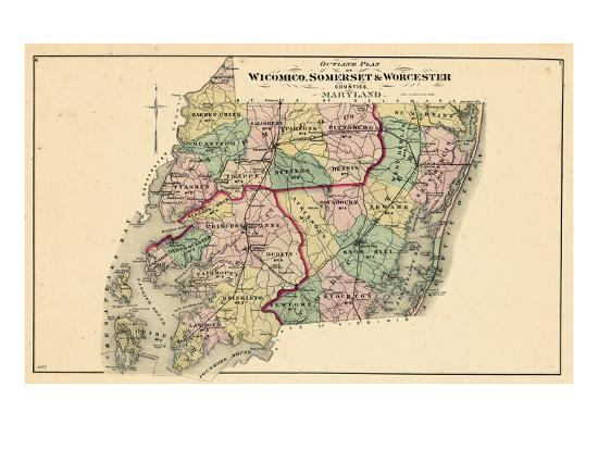 1877, Wicomico - Somerset - Worcester Counties Map, Maryland, United States  Giclee Print by | Art.com