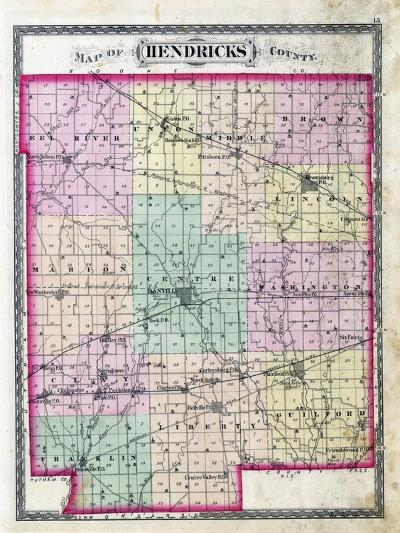 1878, Hendricks County Outline Map, Indiana, United States--Giclee Print