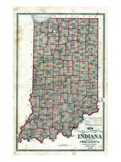 1878, Indiana State Sectional and Township Map, Indiana, United States--Giclee Print