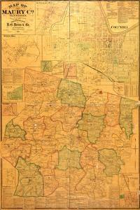 1878, Maury County Wall Map, Tennessee, United States