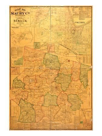 picture about Printable Map of Tennessee Counties referred to as 1878, Maury County Wall Map, Tennessee, United Says Giclee Print through