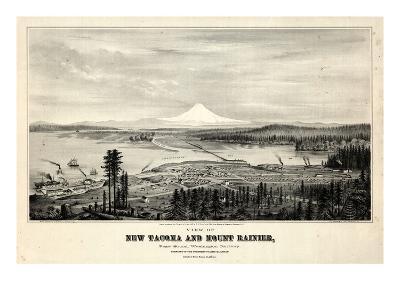 1878, Tacoma and Mount Rainier Bird's Eye View, Washington, United States--Giclee Print