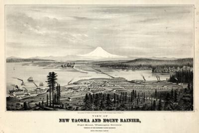1878, Tacoma and Mount Rainier Bird's Eye View, Washington, United States