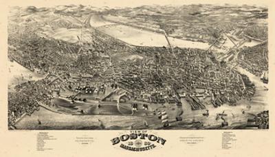 1880, Boston Bird's Eye View, Massachusetts, United States
