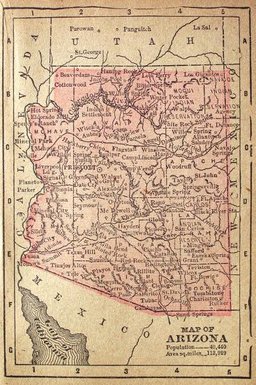 Map Of Arizona 1880.1880 Map Of Arizona Art Print By Twoellis Art Com
