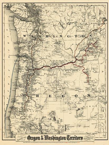 1880, Oregon and Washington State Map, Oregon, United States Giclee on