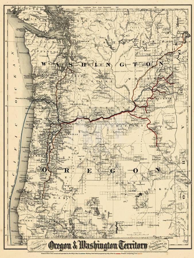 1880, Oregon and Washington State Map, Oregon, United States Giclee Print  by   Art.com