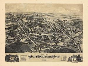 1880, South Manchester Bird's Eye View, Connecticut, United States