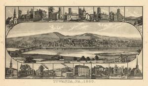 1880, Towanda Bird's Eye View, Pennsylvania, United States