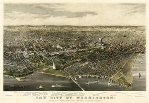 1880, Washington 1880c Bird's Eye View, District of Columbia, United States