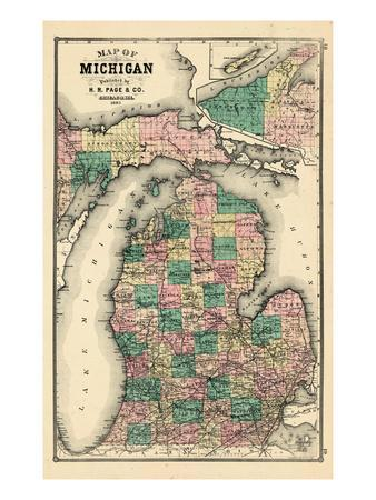 photograph regarding Printable Maps of Michigan known as Interesting Maps of Michigan art for sale, Posters and