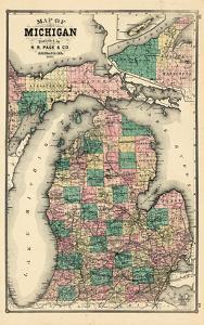 1881, Michigan State Map, Wisconsin, United States