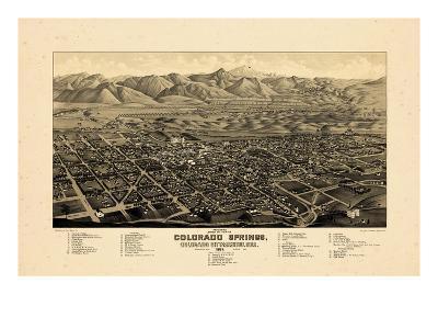 1882, Colorado Springs 1882c Bird's Eye View, Colorado, United States--Giclee Print