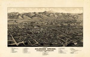 1882, Colorado Springs - Colorado City - Manitou Bird's Eye View, Colorado, United State