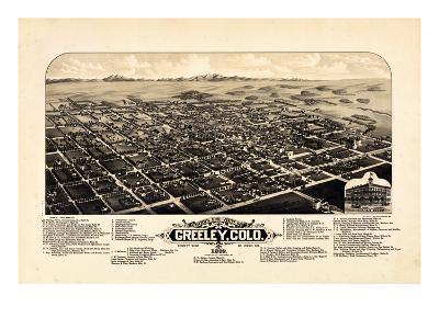 1882, Greeley Bird's Eye View, Colorado, United States--Giclee Print