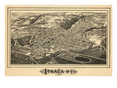 1882, Ithaca Bird's Eye View, New York, United States--Giclee Print