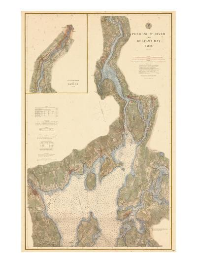1882, Penobscot River, Belfast Bay Chart 1882, Maine, United States--Giclee Print