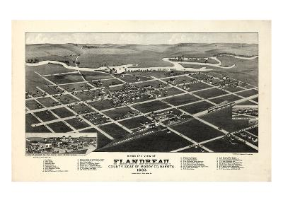 1883, Flandreau Bird's Eye View, South Dakota, United States--Giclee Print