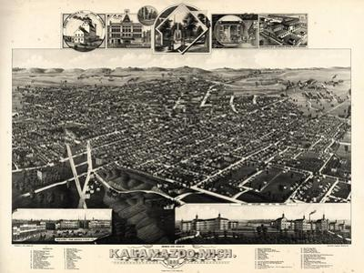 1883, Kalamazoo Bird's Eye View, Michigan, United States