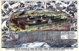 1883, Louisville Southern Exposition Bird's Eye View, Kentucky, United States