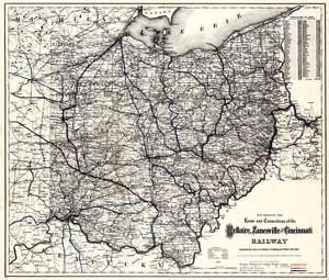 1883, Ohio State and Railroad Map, Ohio, United States